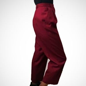 Vintage Wide Leg High Rise Pleated Cropped Pants